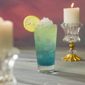 Sparkling Lemon with Blue Curacaq